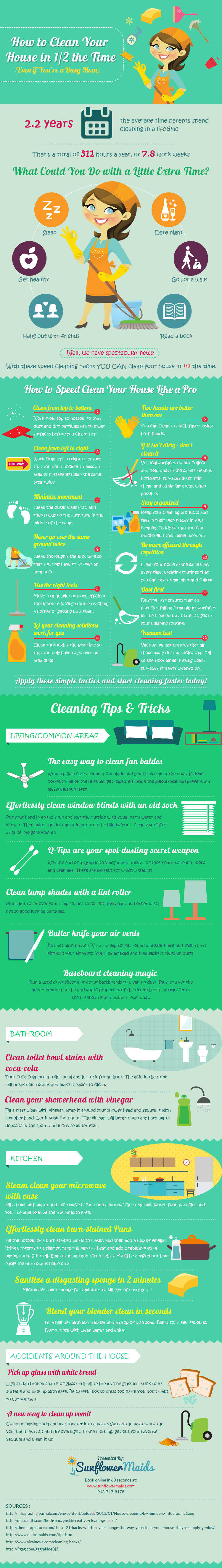 How To Clean Your House how to clean your house in half the time | daily infographic